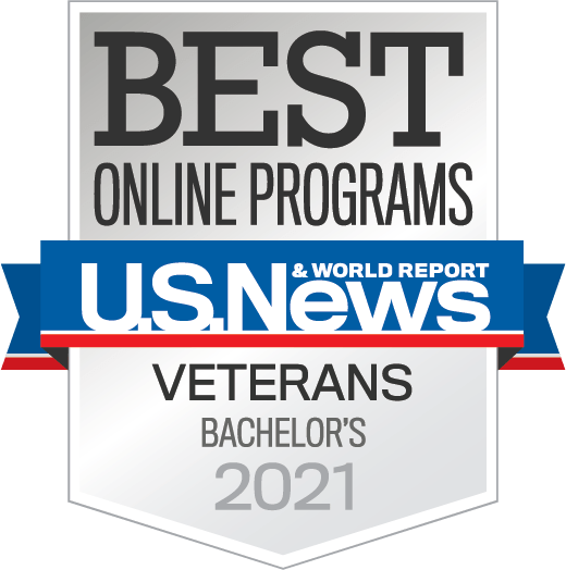 Badge for Online Programs Veterans Bachelors Year 2021