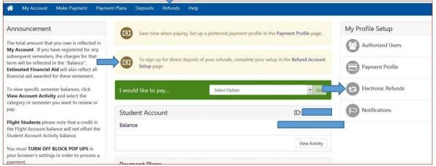 screenshot of student account finance options