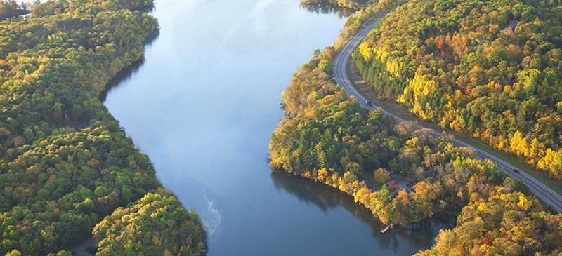 This is an aerial view of the Mississippi River.
