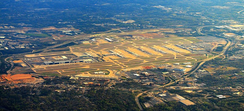 This is an aerial view of Hartsfield–Jackson Atlanta International Airport.