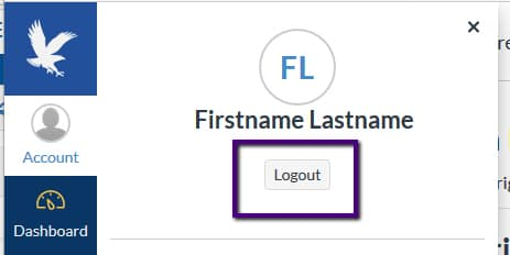 Click 'Account' and Logout.