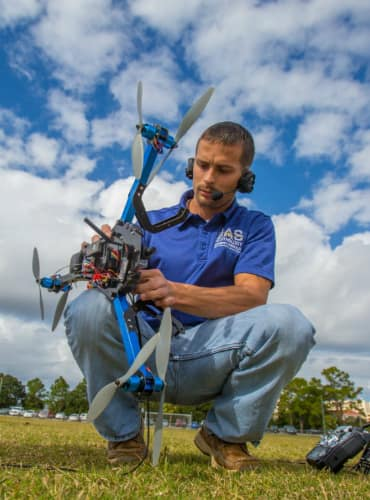 Embry-Riddle Aeronautical University's UAS club operates their quad copter on campus in Daytona Beach.