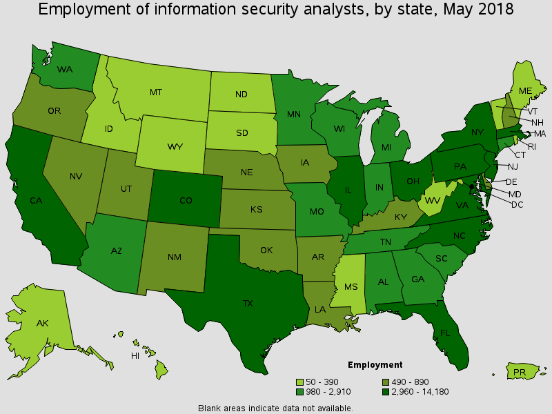 Employment of Information Security Analysts, May 2018